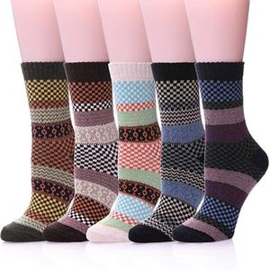 5 Pairs Wool Socks Casual Warm Soft Crew Patchwork